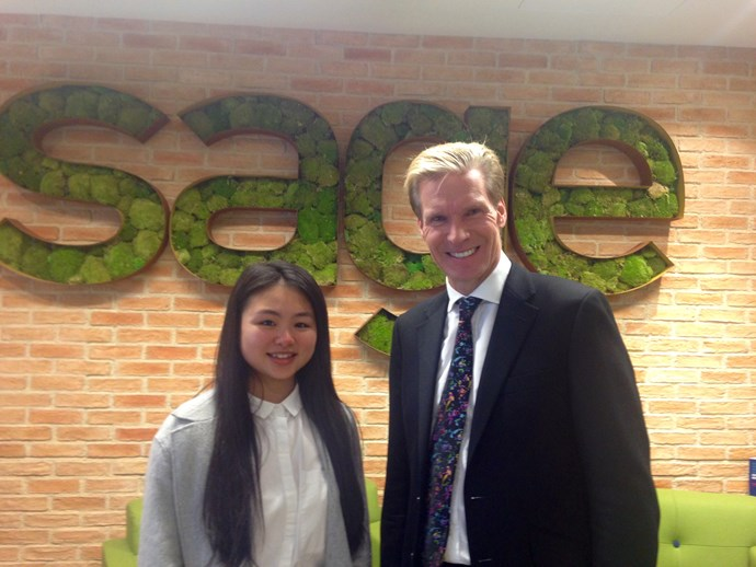 Sage CEO Stephen Kelly with CEOx1Day finalist Christina Le