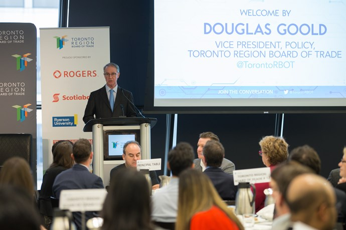 Douglas Goold, Vice President, Policy at Toronto Region Board of Trade addresses the crowd.