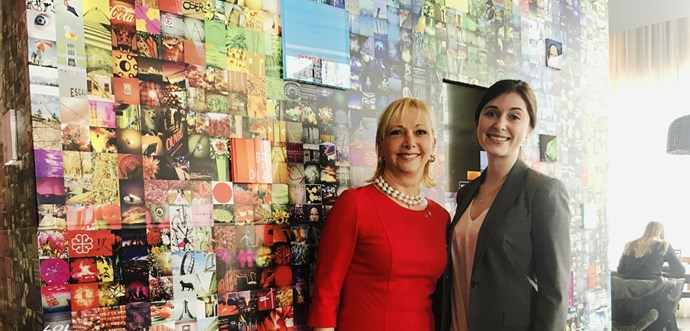 CEO & Co-President Christiane Germain of Groupe Germain Hotels and student Alexandra Mailloux-Rheaume in 2017.