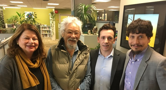 University of Victoria student Riley Hunt with DSF President Stephen Cornish and David Suzuki