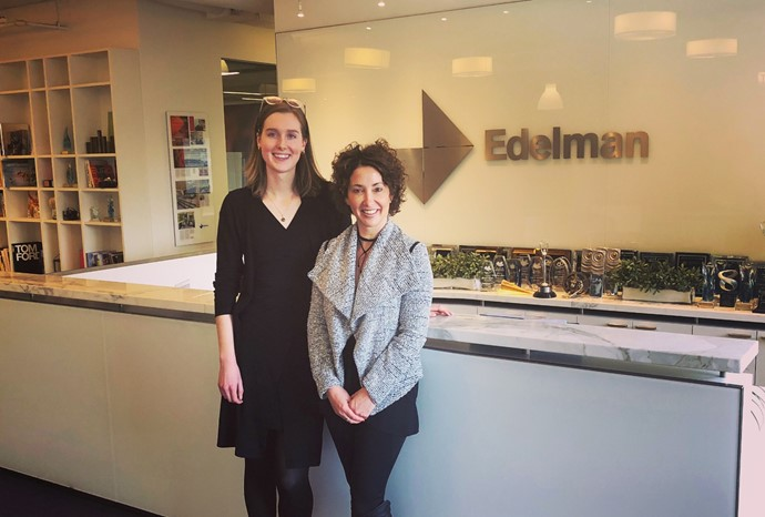 Gabrielle Foss (left) with CEO Lisa Kimmel at Edelman Canada.