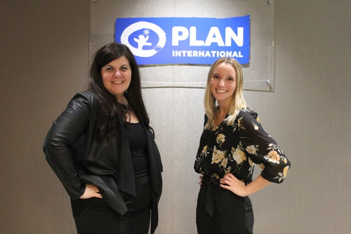 Student Aislin Roth spends the day with Caroline Riseboro, president and CEO of Plan International